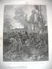 I VOLONTARI ROMAGNOLI RESPINGONO CAVALLERIA AUSTRIACA Antica Stampa Matania 1889