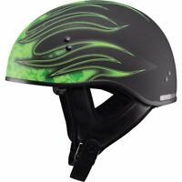GMAX GM65 HALF HELMET FLAT BLACK GREEN FLAME BLACK LARGE HARLEY MOTORCYCLE