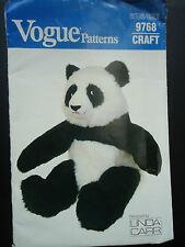 """Vogue Patterns 9768 Craft 19"""" Sitting Panda Bear Designed by Linda Carr"""