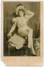 RISQUE BURLESQUE VAUDEVILLE HOT SEXY LADY CABINET CARD PHOTO WITH SEDUCTIVE NOTE