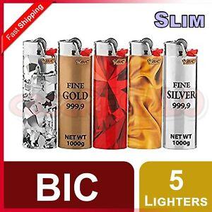 5 pcs BIC Slim Lighters Tobacco Cigarette Made in France So Precious J23
