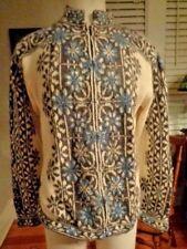 INTIWAPA 100% alpaca full zip cardigan ski sweater women's size L nordic pattern