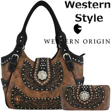 Western Conchos Concealed Carry Purse Country Handbag Women Shoulder Bag Wallet
