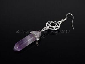 Natural Gemstone Hexagram Reiki Chakra Hexagonal Pendant Silver Hook Earrings