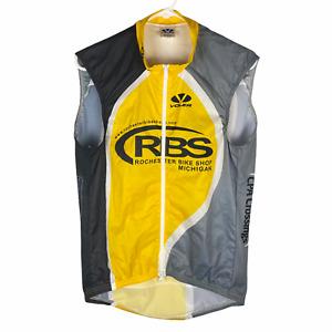 Voler Men's Cycling Vest Large Medium Full Zip Yellow Black Rochester Bike Shop