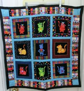"""Handmade Wall Hanging/Lap/Crib Quilt CATS 28.5""""W x 30""""L Primary Colors Very Cute"""