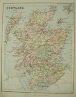 Original 1887 Antique Map of SCOTLAND