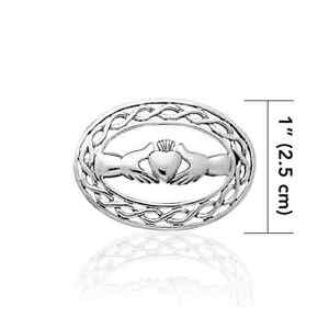 Irish Claddagh Celtic Knot .925 Sterling Silver Brooch Peter Stone Fine Jewelry