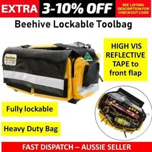 Beehive Heavy Duty Toolbag Ripstop PVC Vinyl Double Base LOCKABLE HI VISY VIS