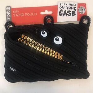 ZIPIT Monster Pencil Case 3-ring Black Pouch Bag One long zipper!