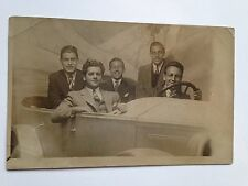 5 HAPPY YOUNG MEN POSED IN A CAR Amusement Park Real Photo Postcard RPPC