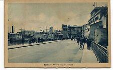1919 Savona Nuova strada a mare bicicletta barche Roma FP B/N VG ANIM