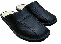 Mens Black Natural Leather Warm Winter Slippers Slip On Moccasins Size US 7 - 13