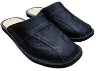 Mens Black Natural Leather Slippers Slip On Moccasins size 7 8 9 10 11 12 13