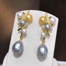 AAA 8-10mm Natural South Sea White gold gray Pearl Earrings Yellow Gold Plated
