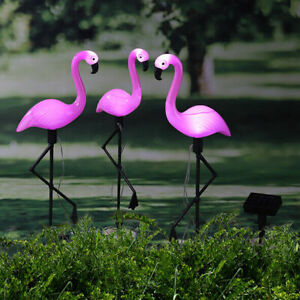 Flamingo LED Gartenfigur Design Solarstecker 3er Set Höhe 52 cm SOLAR Sensor NEU
