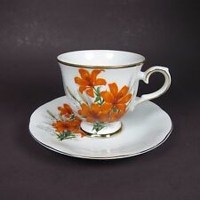 Vintage Viletta Tea Cup and Saucer Orange Lilies Flowers Floral Lily USA Made