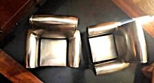 Pair Chrome/Silver plated ? Lounge Chair Bookends ART DECO VINTAGE MID CENTURY