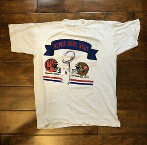 Vintage Super Bowl XXIII Miami Florida T Shirt Size X-Large Bengals v 49ers 23