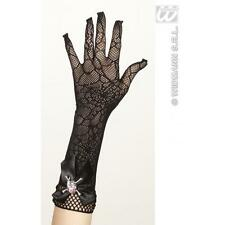 Ladies Long Skull Gloves Halloween Fancy Dress Costume Prop Witch Skeleton