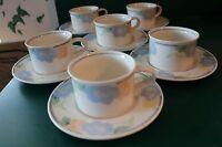 Mikasa Intaglio Garden Poetry 6 Cups Mugs & 6 Saucers EUC