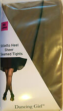 Dancing Girl XXL Size Stiletto Heel Sheer Seamed Tights with Lycra
