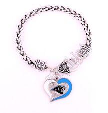 Carolina Panthers Football Heart Charm Dangle Women's Fashion Clasp Bracelet