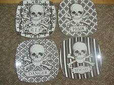 222 Fifth Halloween Skulls Salad Plates Set 4 NEW Black & White Gothic