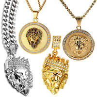 """Mens Stainless Steel Lion Head Pendant Necklace with Chain 22"""""""