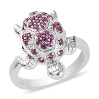 925 Sterling Silver Rhodolite Garnet Turtle Ring Jewelry Gift for Women Ct 1