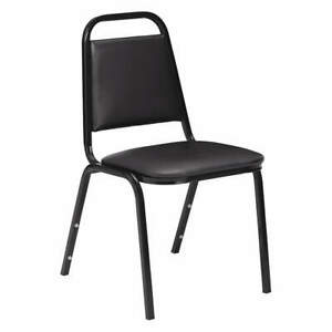 NATIONAL PUBLIC SEATING 9110-B Stacking Chair,Steel,Black/Black