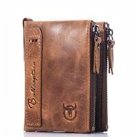 Porte-monnaie pour homme en cuir véritable avec porte-carte de crédit