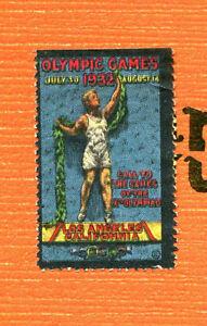 Vintage Poster Stamp Label 1932 LOS ANGELES OLYMPICS  Athlete black border