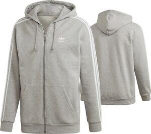 adidas Men's Hoodie Track Top Full Zip Cotton Sport Running Grey Jumper Gym