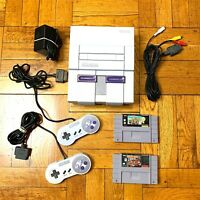 Super Nintendo SNES Console w/ OEM Controllers + w/ Mario Kart & Donkey Kong