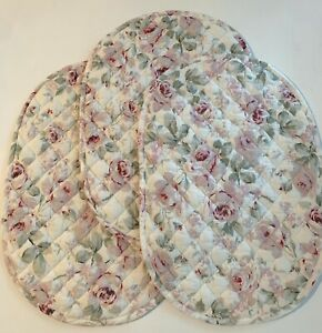 Set (3) Vintage Simply Shabby Chic Rosalie Floral Placemats 19x13 Reversible