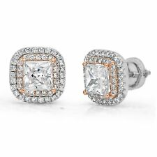 Earrings 14k Two-Tone Gold Screw Back 2.42ct Princess Cut Halo Stud Solitaire