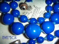 ART DECO RARE SIGNED FRANCE LOUIS ROUSSELET BLUE GLASS BEADS VINTAGE NECKLACE