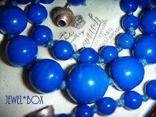 ART DECO RARE SIGNED FRANCE LOUIS ROUSSELET BLUE GLASS BEADS VINTAGE NECKLACE