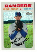 MIKE MINOR 2020 TOPPS HERITAGE CHROME WHITE REFRACTOR #36/71 RANGERS THC-284