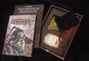Rare coffret extension Warhammer Triomphe & trahison. Jetons / cartes / livre