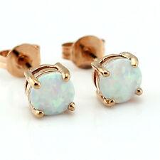 White Fire Opal 6MM Women Jewelry Silver Rose Gold Plated Stud Earrings OE208