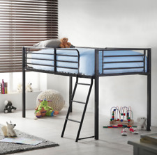 Single Mid Sleeper Bunk Kids Bed Cabin Black Metal Frame Tower With Ladder