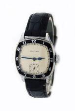 Art Deco 1929 Waltham Chevalier 30mm Chrome Nickeloid Black Enamel Bezel Watch