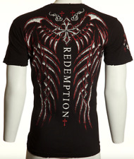 $40 ARCHAIC by AFFLICTION Mens T-Shirt SPINE WINGS Black Red Foil UFC Medium M