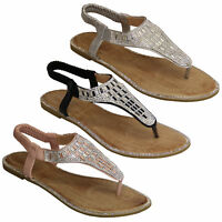 ladies diamante sandals womens sling back flat toe post slip on shoes summer new
