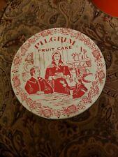 Vintage Pilgrim Fruitcake Tin 60's Thanksgiving Theme