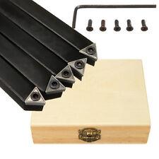 5Pcs TCMT0902 1/4'' Shank Lathe Indexable Insert Turning Tool Bit Bar Holder Set