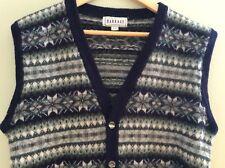 Men's Vest Sweater Waist Coat Button Up Knit 100% Wool Striped Vintage Size L