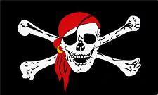 Fahne Flagge - Totenkopf Pirat mit Kopftuch - 90 x 150 cm, mit 2 Ösen